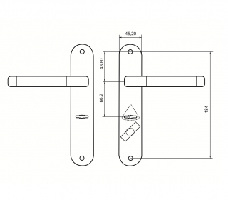 Ручки на планке для замков Border с задвижкой 70148 черн. никель, правые