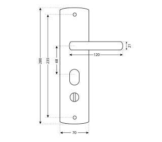 Ручка для китайской двери РН-А222,-L левая, Аллюр, на планке
